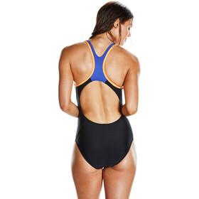 speedo Fit Laneback Swimsuit Women Black/Fluo Orange/Ultramarine
